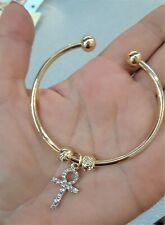 Gold Egyptian Ankh Cross Open Bangle Bracelet Cuff Metal Charm Fashion Style