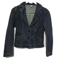 CAbi Jean Jacket Denim Blazer Lucy 860  Fitted Stretch Pleated Collar Blue Sz S