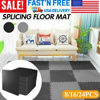 Gym Floor Mat 24 SQ Ft EVA Foam Interlocking Exercise Fitness Puzzle Flooring