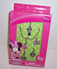 Disney MINNIE MOUSE NECKLACE & CHARMS Charm Fashion JEWELRY Gift SET NEW!