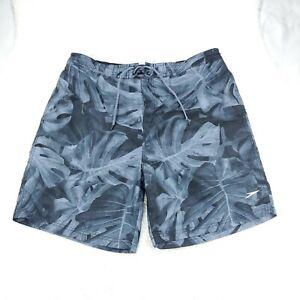 Speedo Mens Size 2XL Swim Trunks Gray Adult Boardshorts Lined Floral Back Pocket