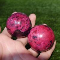Beautiful Natural  Peach Blossom Stone Jade Ball Onl Crystal Sphere Healing