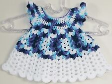 New Handmade Crochet  Size 3-6 Months Purple White Cap Sleeves Dress