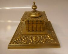 Antique 1880/90's Brass Gothic Style Inkwell With White Porcelain Liner