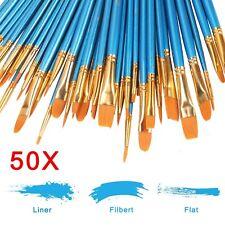 50tlg Professionelle Acryl Öl Pinsel Set Flachpinsel Nail Art Gelpinsel Malerei