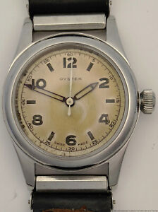 Scarce Oyster Rolex 2784 Tropical Dial Sweep Seconds Mens Vintage Watch