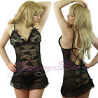 Sexy Lingerie Dress Babydoll Plus Size 8-30 Sleepwear Chemise Lace Thong Nightie