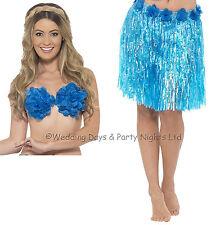 Blue Hawaiian Grass Skirt Neon Hula Dancer Fancy Dress Beach Party Smiffys 45555