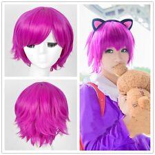 League Of Legends Annie Cosplay Wig 30cm Short Straight Purple Dark Child Hair