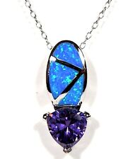Amethyst & Blue Fire Opal Inlay 925 Sterling Silver Pendant Necklace 18''