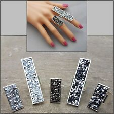 Large Rectangular Silver Adjustable Ring Druzy Rhinestone Coctail Party