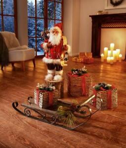 Groß Weihnachtsmann Laterne Santa Nikolaus Wunschliste Deko Figur Weihnachten