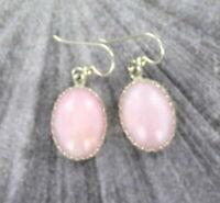 Peruvian Pink Opal Earrings  in  Sterling Silver Settings  18x13mm