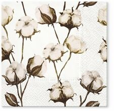 Cotton Branches Oriental Paper Lunch Napkins 40pcs Decoupage Floral White Brown