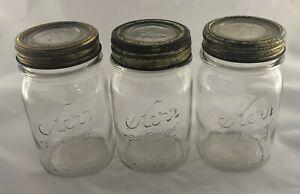 "Lot of 3 Vintage Clear Kerr ""Self Sealing"" Trademark Reg Mason Pint Jars & Lids!"