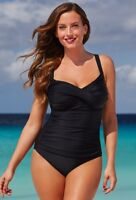 $72 NWT Black Twist Front Swimsuit Size 14 Swimsuits for all Plus 755