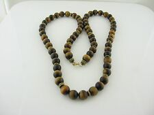 "Vintage Gorgeous Natural Tiger's Eye Necklace 10mm Beads 30"" long"