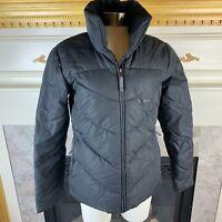 REEBOK Womens S Black Shimmer Long Sleeve Full Zip Puffer Down Coat