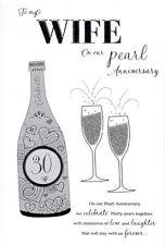 """ICG moglie Pearl 30th Carta Anniversario Di Matrimonio-Argento & Champagne flauti 9"""" x 6"""""""