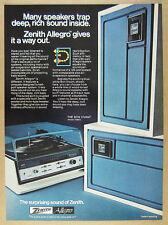 1974 Zenith Allegro E586X Bon Vivant Stereo photo vintage print Ad