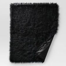Throw Blanket Project 62 Long Faux Fur Furry Fuzzy Mongolian Black 50x60  Solid 97326b6a69