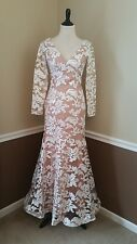 Bariano Dress 4 White Nude Sequin Trumpet Gown Long Sleeves Wedding Lovely $300
