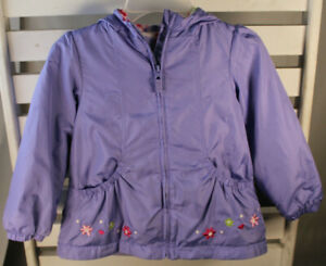 London Fog Girls Size M 5-6 Purple Fleece Lined Hooded Jacket Flower Accents