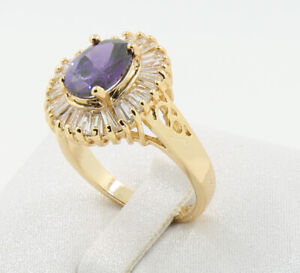 New Pretty Jewellery Natural 3.17ct Amethyst 14k Solid Yellow Gold Ring Size 4.5
