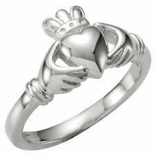 10k White Gold Diamond Claddagh Irish Ring Wedding NEW IN BOX