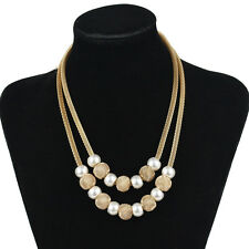 Women 2 Layer Chain Choker Chunky Pearls Statement Bib Wedding Necklace Jewelry