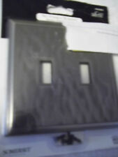 """SOMERSET DOUBLE TOOGLE SWITCH COVER  5"""" X 5"""" NICKEL FINISH INVISIBLE SCREWS NWT"""
