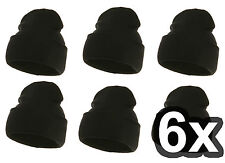 6 pcs. LONG Black Plain Beanie Knit Solid BLK **LOT OF 6** NEW hat