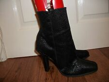 "LADIES BLACK ANKLE  BOOTS  4.5"" HEEL,  SIZE 8 VGC"