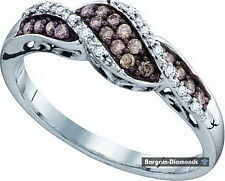 cocoa brown diamond life journey 10k gold ring infinity .21 carats love promise