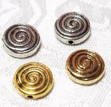3pcs Puffy Swirl Fine Pewter Beads