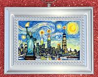 New York City Skyline Statue Of Liberty Van Gogh Starry Night Christmas Ornament