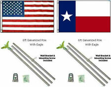 3x5 USA American & State of Texas Flag Galvanized Pole Kit Top 3'x5'