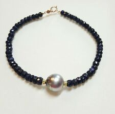 Genuine 15ct Sapphire Gray Tahitian pearl solid 14k gold bracelet