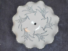 WHITE & CLEAR SCALLOPED EDGE  CEILING LAMP  SHADE  12 inch DIAMETER