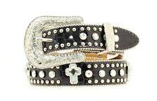 Nocona Western Girls Kids Belt Croc Cross Silver Black N4425001