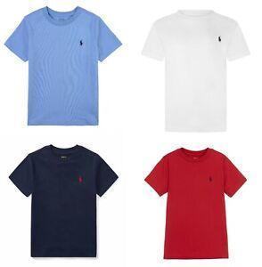 Boys Kids Ralph Lauren Short Sleeve Crew Neck Basic logo T shirt Tee Top 2-16