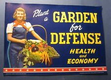 Old Vintage 1940's - WWII - GARDEN FOR DEFENSE - Patriotic / Advertising POSTER