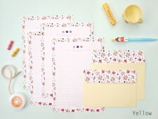 Lovely Flower Pattern 4 Writing Papers & 2 Envelopes Letter Set / Yellow