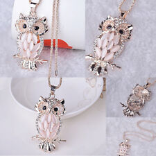 Fashion Women Crystal Opal Owl Pendant Chain Gold Sweater Long Necklace Jewelry