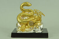 Hand Made 24K gold Covered bronze Chinese Zodiac Snake Sculpture Statue Figure