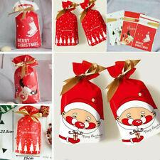 50X Christmas Sacks Reusable Drawstring Gift Bags Xmas Storage Wrap Present Bag