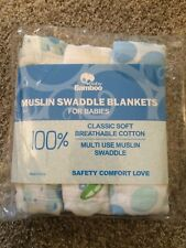 "New - Premium Muslin Cotton Swaddle Blankets -3 pack Large 47"" x 47"""