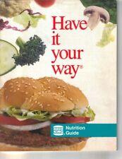 Vintage 1986 Burger King Nutrition Guide Booklet Fast Food Calories Whopper