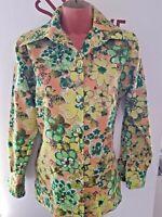 Vintage 70s Shirt DAGGER COLLAR VIBRANT FLORAL PSYCHEDELIC SZ10/12 38/40C RETRO