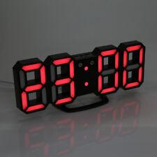 Home Digital 3D Modern LED Display Table Desk Night Wall Clock Alarm 24/12 Hour